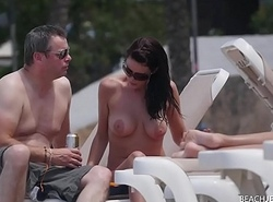 Fake Tits Milf topless on beach in the air husband