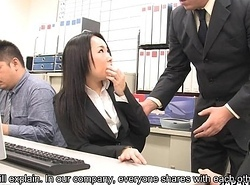Oriental dark knavish screwed by her co-workers