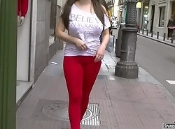 Red-hot cameltoe walking upon the trip