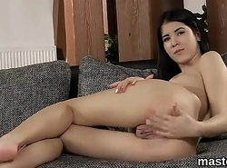 Excited czech kitten sans bra her tight pussy to be passed on back away from